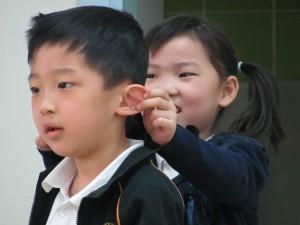 Children dramatising the ginger bread man